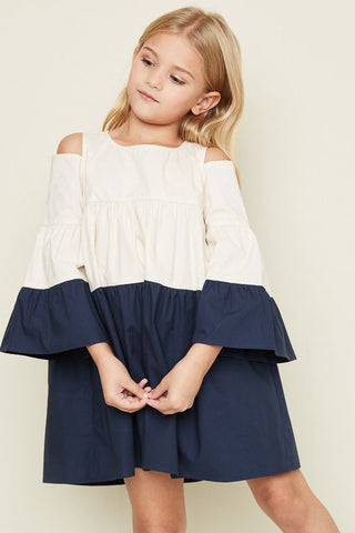 Hayden Los Angeles Cold Shoulder Poplin Dress - Girls 7/8, 9/10,11/12, 13/14