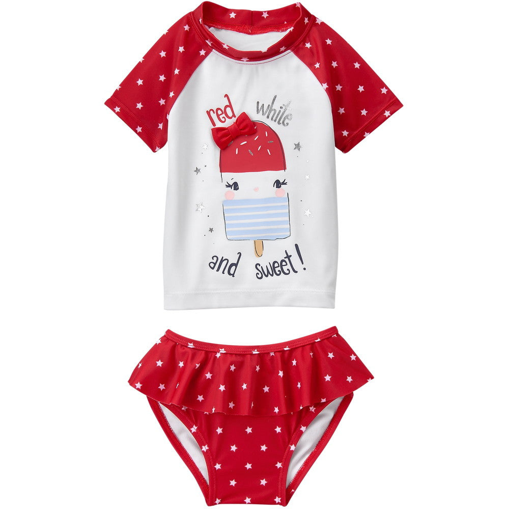 Gymboree Ice-Cream Treat Rashguard Swimming Swimsuit Set - Girl 2T
