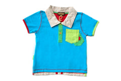 Baby Boy Infant Turquoise Color Block Polo Size:12M