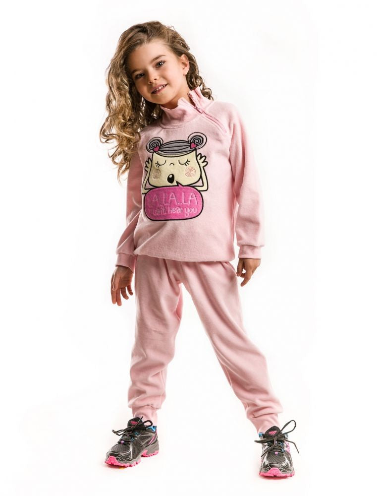 MUSHI Fall 2016 Lalala Pink Velvet Tracksuit - Infant Toddler & Girls - LinaAndMickey