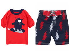 Gymboree True Red Monster Rashguard & Bolt Board Shorts Swimwear UPF 50+ Boy 4T