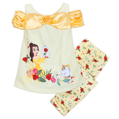 Authentic Disney Store Beauty and the Beast Belle Deluxe PJ Set Girls Size:9-10