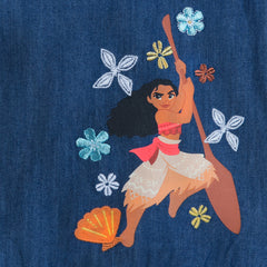 Authentic Disney Store Moana Woven Cold Shoulder Denim Dress for Girls Size:9/10 Slim