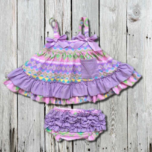 LAVENDER PASTEL AZTEC SWING TOP SET - INFANT, BABY GIRLS 6-12M, 12-18M, 18-24M - LinaAndMickey