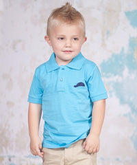 Jelly The Pug Very Elegant Logo Polo Coral, Lake Blue, Purple - Infant Toddler And Boys