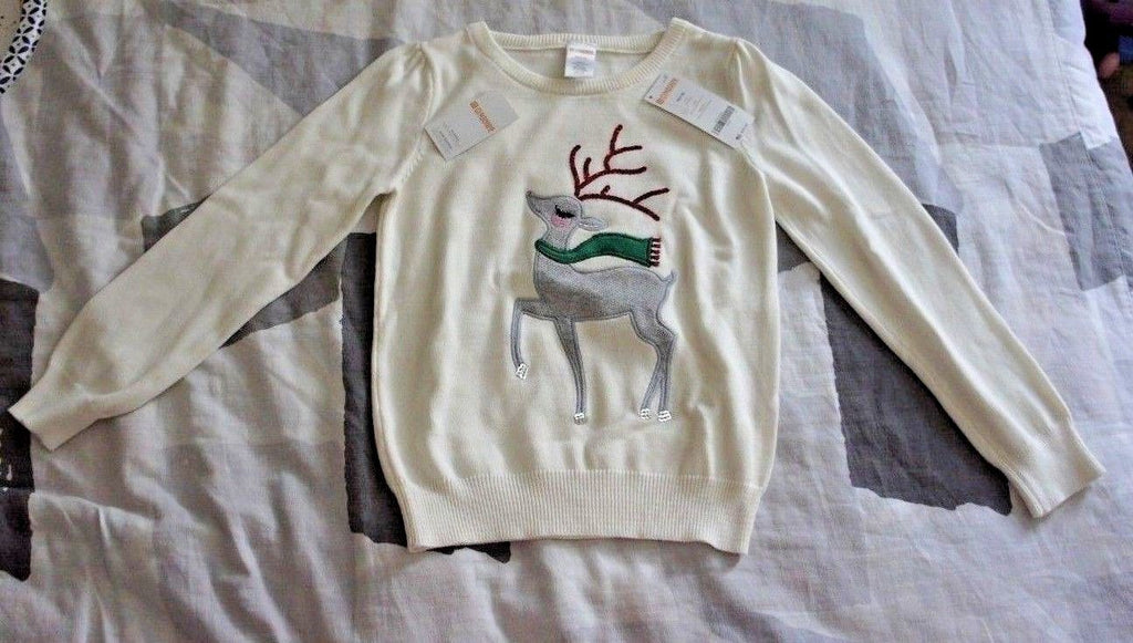 Gymboree Reindeer Scarf Christmas New Year Winter White Sweater Girl Size:7-8