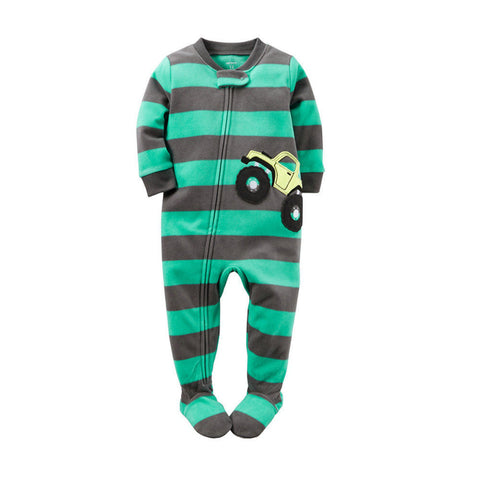 Carter's Warm Fleece Green Striped Car One-Piece Footie - Baby Boy 18M