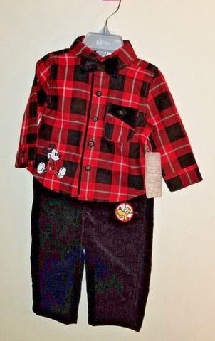 Authentic Disney Store Mickey Mouse & Plutto Shirt, & Pants Outfit Baby Boy 6-9M