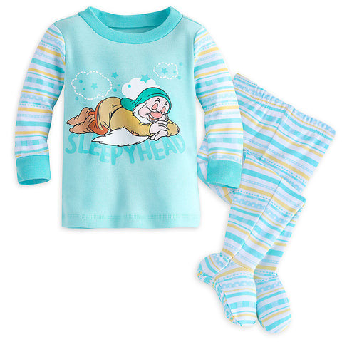 Disney Snow White's Friend ''Sleepy Head'' Organic Footed PJ Set -Baby 12-18M