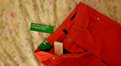 United Colors of Benetion Pants Red Jeans for Girls Size:M Slim 7-8 Years