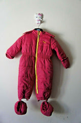 Pre-Owned Puma Snowsuit With Removable Mittens and Booties Baby Girl 18M + Hat