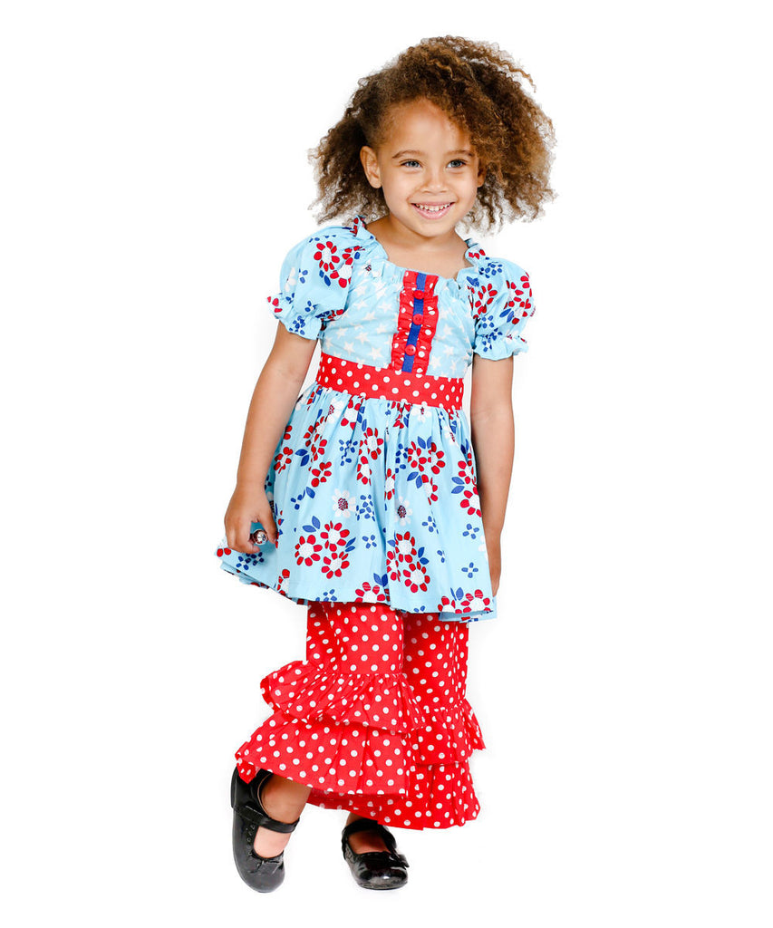 Jelly The Pug Blue Kassie Top & Pants - Toddler & Girls Size:4,5,6,8