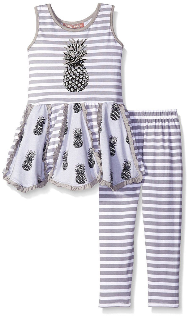 Jelly The Pug Grey Pineapple Handkerchief Knit Set - Girls,Twins Size:5 Runs Big