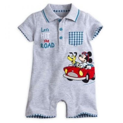 Genuine Disney Store Mickey Mouse & Pluto Gray Baby Boy Romper 9-12M