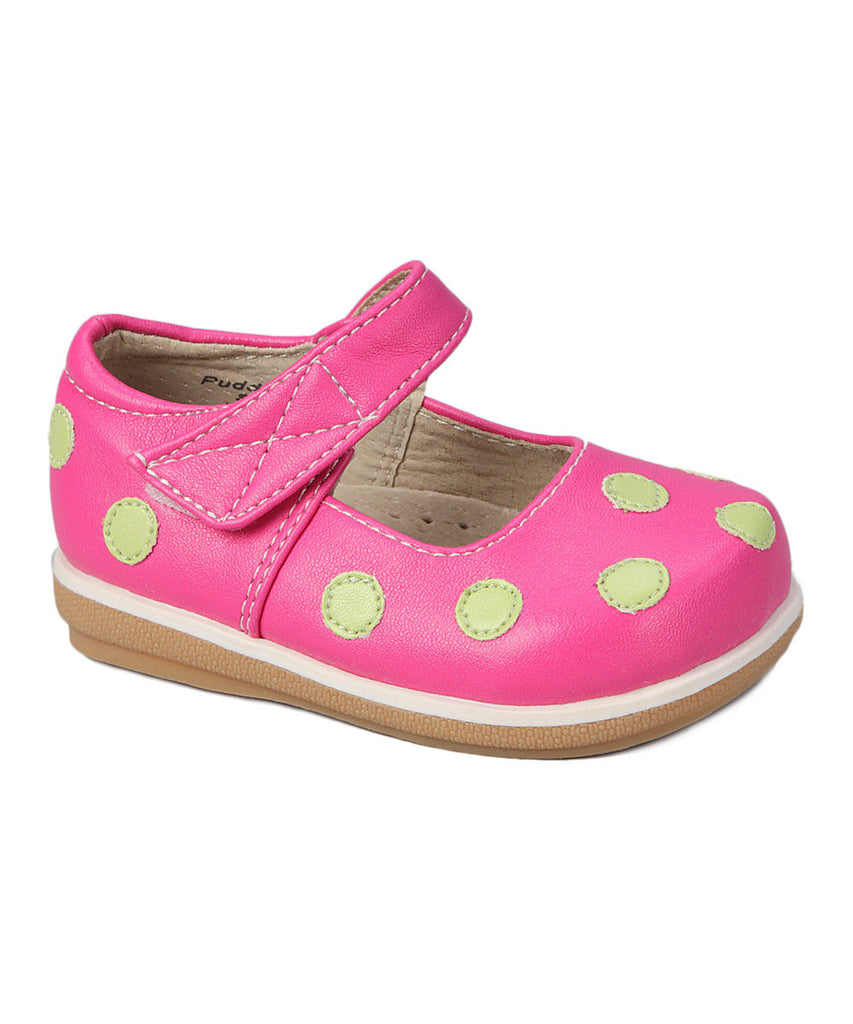 Puddle Jumper Green,Yellow, Pink Dot Mary Jane Shoes - Infant & Toddler Girls