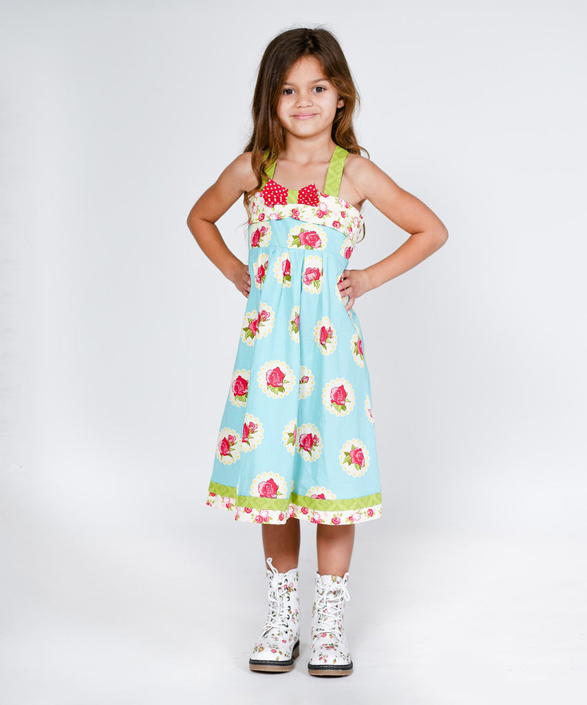 Jelly The Pug Teal Floral Darling Coley Dress 2T, 4