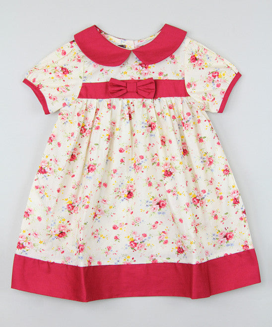 Lil Cactus Red Floral Toddler Girl Bow Dress Size:5 - LinaAndMickey