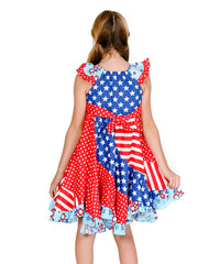 Jelly The Pug Red & Blue Flo Dress - Toddler & Girls 2T,4
