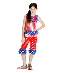 Jelly The Pug 4th Of July Patriotic Red & Blue Suzy Top & Shorts - Girls 2T, 4