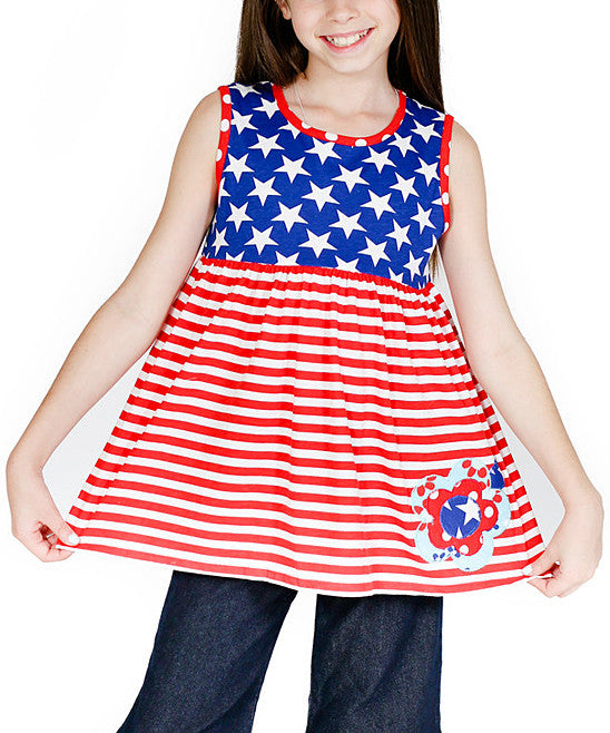 Jelly The Pug 4th of July Independence Day Red Two Birds Knot Top - Girls 2T