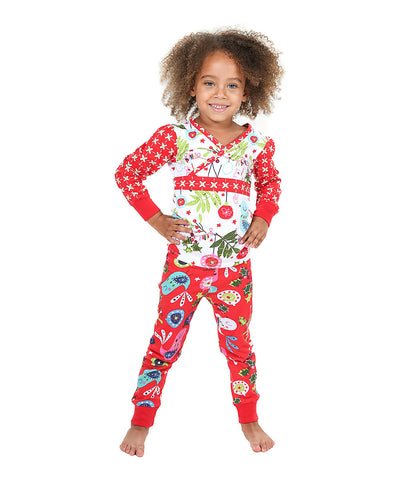 Jelly The Pug Red & White Cecilia Pajama Set - Girls 4, 6