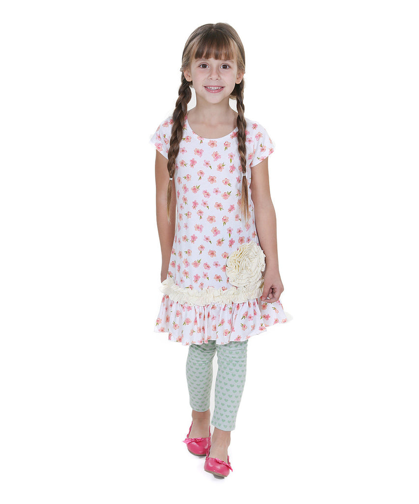 Jelly The Pug Peach Sweet Heart Shelby Dress & Pants Toddler Girls Size: 2T,4 - LinaAndMickey