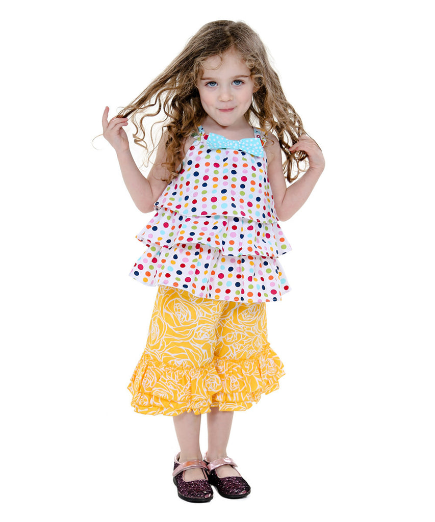 Jelly The Pug Yellow & Rainbow Spring Bling Dawn - Toddler & Girls Set 2T, 5, 6