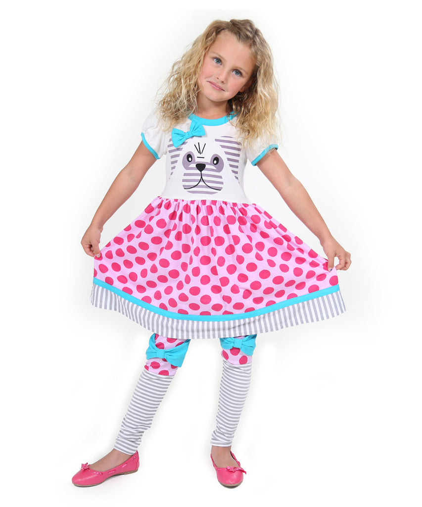 Jelly The Pug Pink Woodland Friends Pug Dress & Leggings - Toddler & Girls