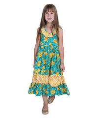 Jelly The Pug Green Samantha English Rose Woven Maxi Dress - Toddler Girls 2T
