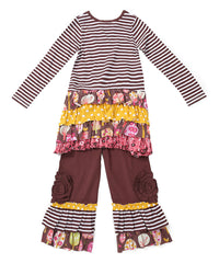 Jelly The Pug Brown Into the Woods Infinity Tunic & Pants - Girls - 2T,3T,5,6