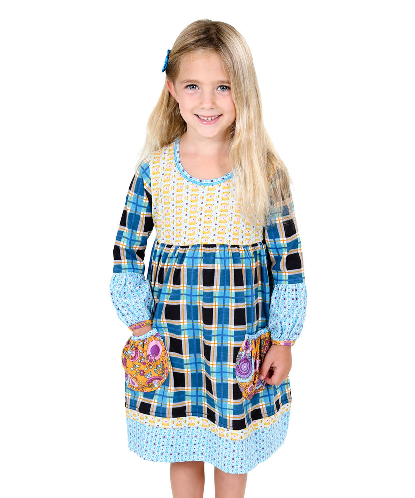 Jelly The Pug Blue Poppin' Plaid Delany Knit Dress - Girls 12, 14