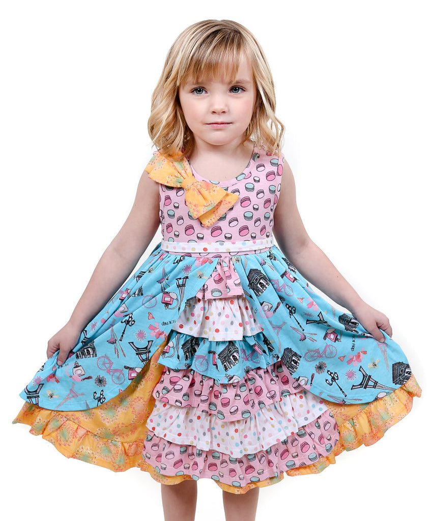 Jelly The Pug 2017 Pink & Aqua Paris Hannah Ruffle Dress - Girls 10, 12, 14
