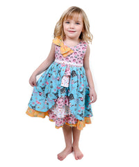 Jelly The Pug 2017 Pink & Aqua Paris Hannah Ruffle Dress - Girls 2T, 10