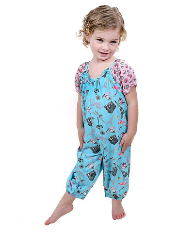 Jelly The Pug 2017 Aqua Paris Deanna Romper - Baby Girl 6M, 9M