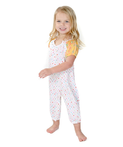 Jelly The Pug 2017 White Paris Polka Dot Sammy Playsuit - Baby Girls 6M, 9M