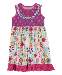 Jelly the Pug 2017 Purple Tulip Floral Bailey Sleeveless Dress - Girls 12,14