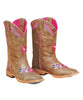 Blazin Roxx Brown & Pink Floral-Accent Cowgirl Boot Girl Size: Big Kid 5
