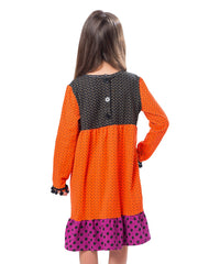 Jelly The Pug 2017 Orange Polka Dot Deborah Dress - Girls 8, 10