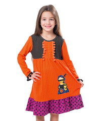 Jelly The Pug 2017 Orange Polka Dot Deborah Dress - Girls 2T, 3T, 5, 8, 10