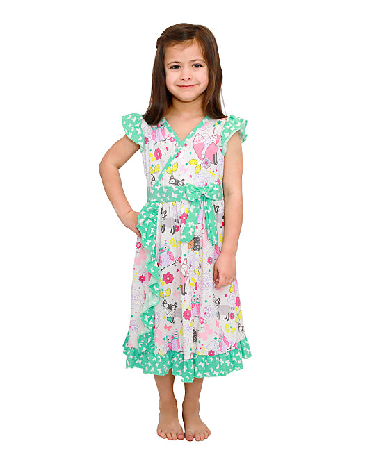 Jelly the Pug Turquoise Woodland Mischa Dress - Toddler & Girls Size:12