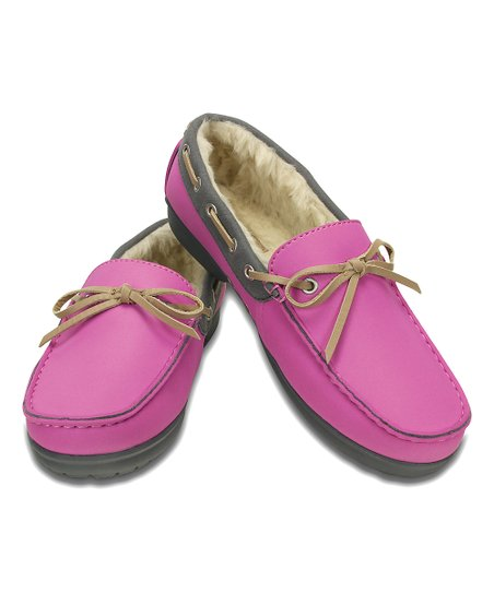 Crocs Wild Orchid & Charcoal Wrap ColorLite™ Lined Loafer - Women Size:8, 9