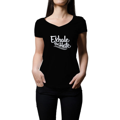 Exhale The Hate Womens V-Neck