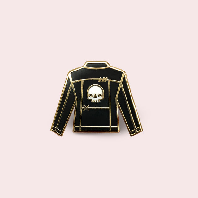 Black Jacket with Patch Enamel Pin