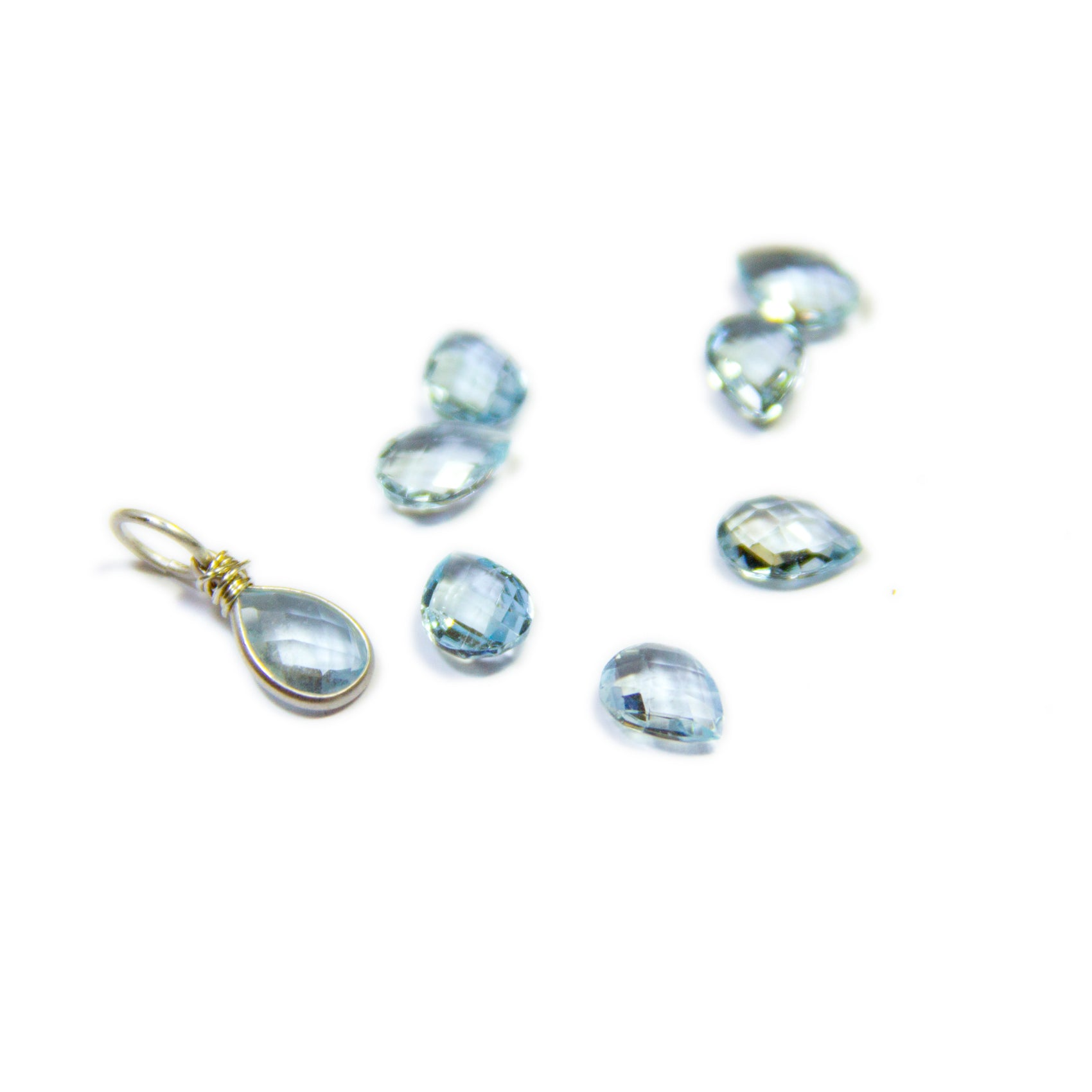 5b5dbf841 Aquamarine Gemstone Drop Charm - Heart and Stone Jewelry