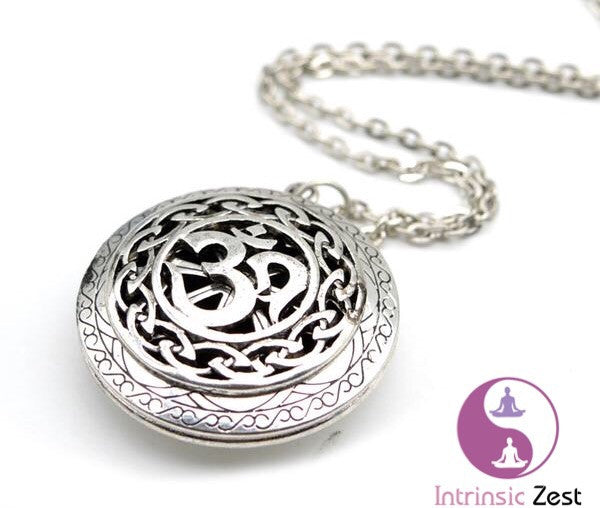 Antique Silver Moola Mantra Aromatherapy Diffuser Locket Necklace - https://www.Intrinsiczest.com