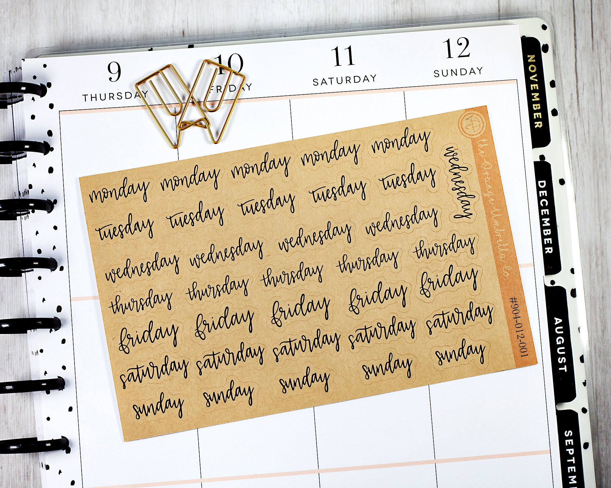 #904-012-001-WH Weekday Stickers ECLP Planner Stickers Day of the Week Header Planner Stickers