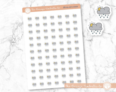 #946-003-000S-WH Hobo Weather Micro Weather Stickers Weather Icon Partly Rainy Planner Stickers Hobonichi or PP Weeks Weather Tracking