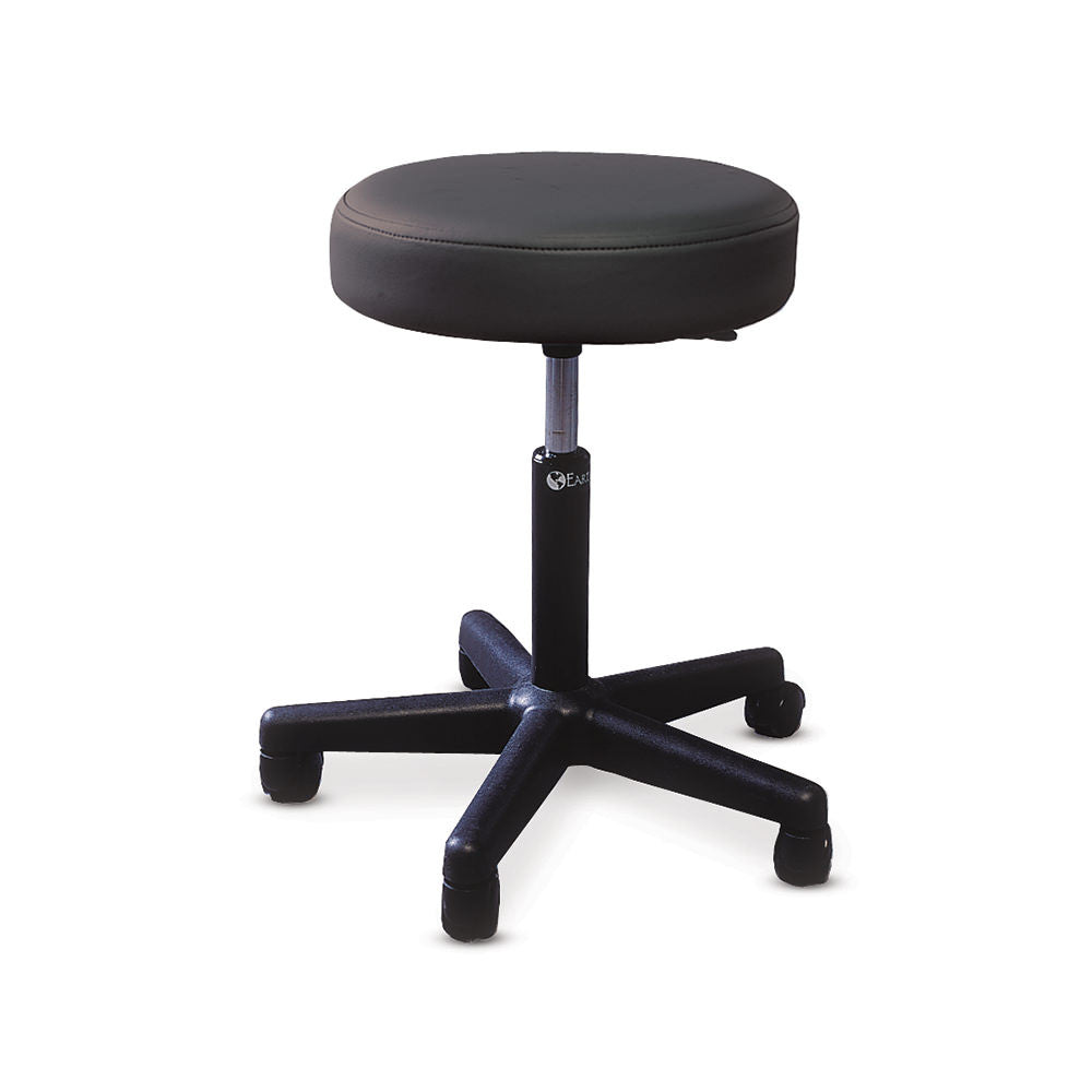 PNEUMATIC STOOL WITH PADDED SEAT AND WITH TWIN-WHEEL SWIVEL CASTERS BLACK