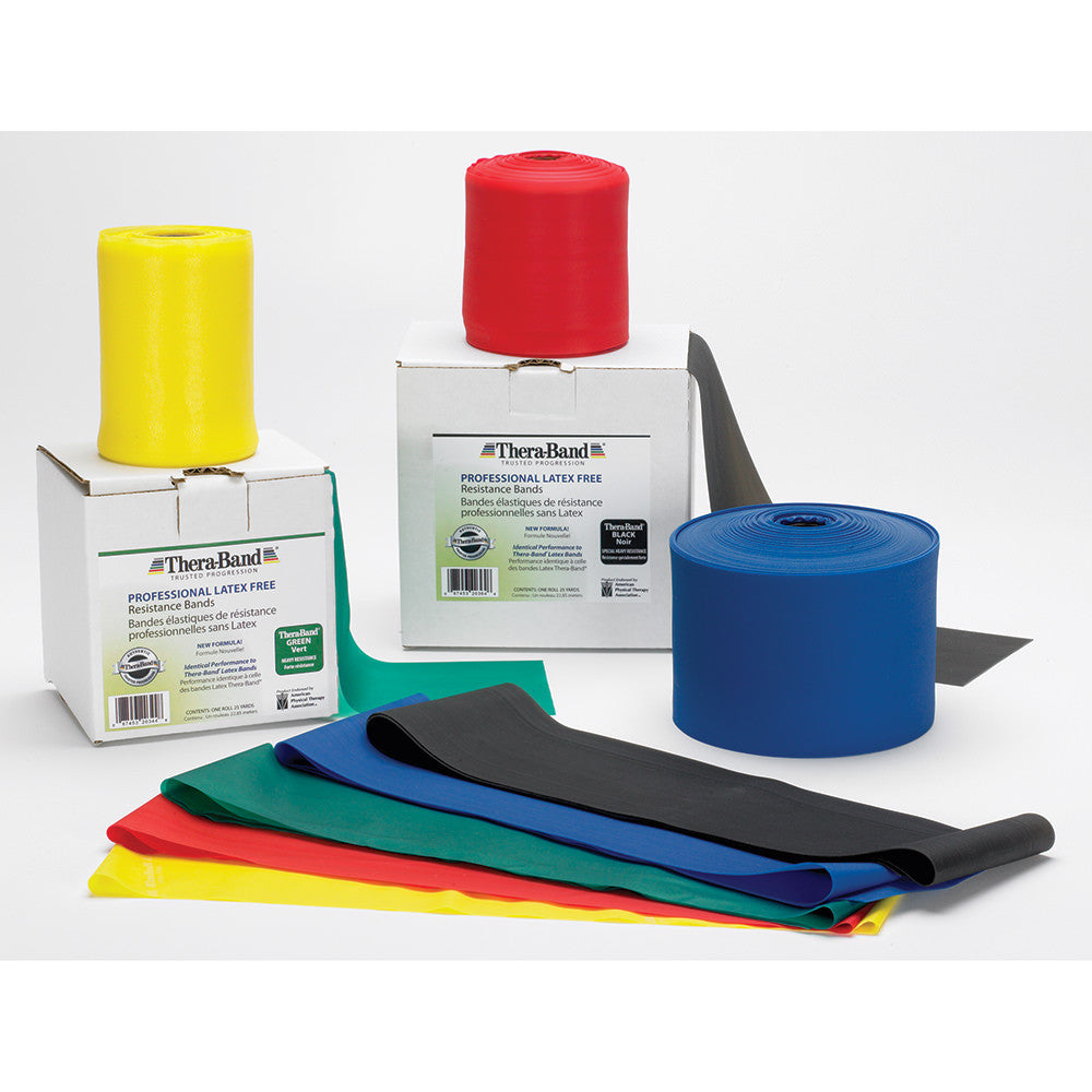 THERA-BAND LATEX-FREE PROFESSIONAL RESISTANCE BAND BLACK SUPER HEAVY RESISTANCE 50 YARD ROLL