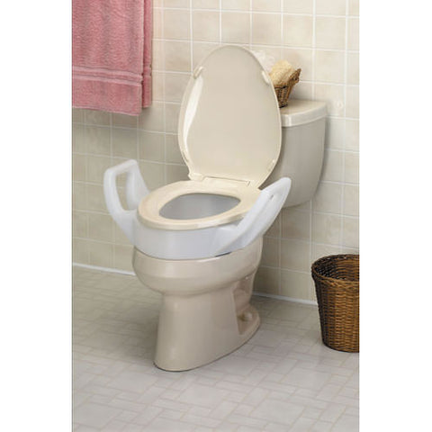 "Elevated Toilet Seat with Arms - 3 1/2"" - Elongated"